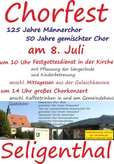 Herzliche Einladung zum Chorfest am 8. Juli | Evangelischer Gesamtverband Floh-Seligenthal